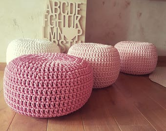 Pale pink, white, dusty rose Hand Crochet Kids Ottoman Pouf- Kids  Furniture, Bean Bag Chairs, Nursery Decor, Footstool