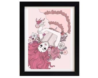 Pink Flower Girl | Art Print | Illustration | A4