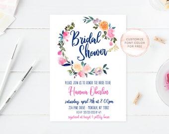 Bridal Shower Invitation, Bridal Shower Invite, Boho Bridal Shower Invitation, Bridal Shower Printable, Boho Bridal Shower, Watercolor [726]