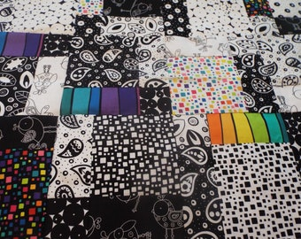 Black and White with a Splash of Color Crib or Lap Quilt Top