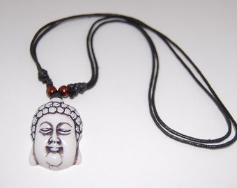 Buddha Necklace,Adjustable Cord Necklace,Buddha Pendant,Choker Necklace,Surfer Necklace,Yoga,Protection,Meditation,Prayer,Mens Necklace