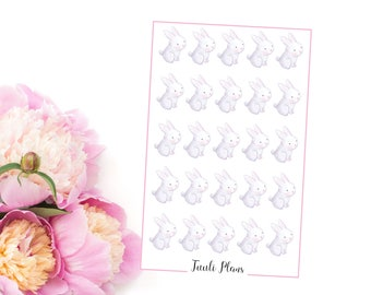 Planner stickers: white bunnies | Perfect for your filofax / erin condren planner etc