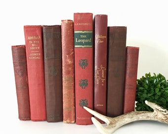 Vintage 8 Book Bundle for Display Decorating Home Decor Wedding Reading Red and Maroon