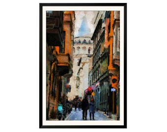Printable Art Digital Painting Lovers in Istanbul Galata Tower Download Poster JPEG