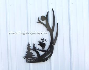 Metal Elk Antler Sign, elk scene, elk antlers, Cabin Decor, Great Fathers Day gift for him