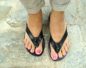Womens sandals, Leather flip flops, Greek sandals, Leather sandals, Greek leather sandals, Black sandals, Summer flats, Ifigeneia