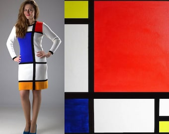 White MONDRIAN dress, color block dress, handmade, all sizes