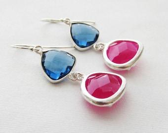 Blue Sapphire with Fuchsia Hot Pink Drop Earrings Bridesmaid Gift Wedding Earrings, Bridal Jewelry Green Dangle Earrings Gift Something Blue