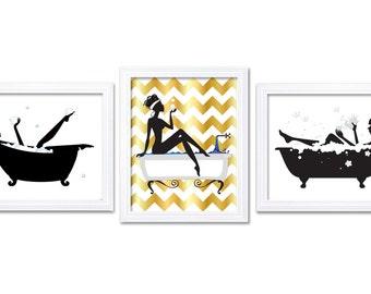 Bathroom Wall Decor Bathroom Print Black White Gold Wall Art Bathtub Tub  Set Of 3 Art Prints Bathroom Decor