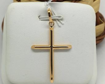 18K Yellow Gold Plain Small Cross Pendant