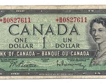 1954 Canadian 1 Dollar Beattie-Rasminsky  Asterisk