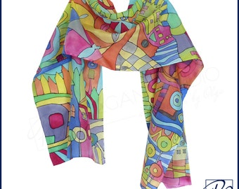 Hand Painted Silk Scarf Hundertwasser - 'Inspired by' - Silk Scarf Blue Red Orange Green Multicolor Scarf Luxury 15x58 inches. Ready to ship