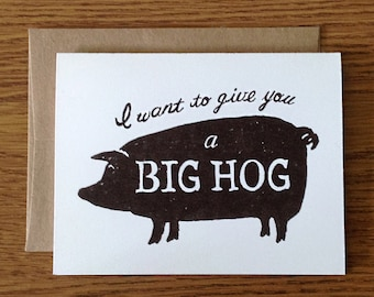 Funny Pig Greeting Card, Thank You, Love, Support, Encouragement, Humorous Farm Thank You Card