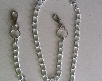 Silver chain handle for purse, with carabiners at the ends. 2 models to choose from.
