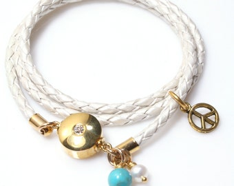 Womens Leather Bracelet / Pearl White Leather Bracelet/ Wrap Bracelet with Gemstones / Kim