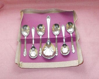 7 piece fruit set, Sheffield Chrome plated/Art Deco style/metalware/British
