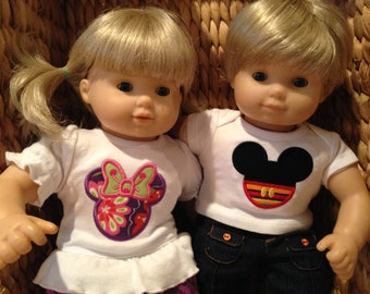 Matching Doll shirts for American Girl Bitty Twins, set of 2