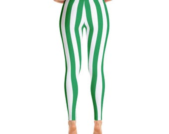 Christmas Green Striped Leggings Holiday Peppermint Part Pants