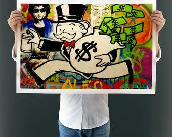 Frameless Canvas Printings Alec Monopoly Holding Dollars Graffiti Arts for Modern New Fashion Wall Art Living Room Decoration