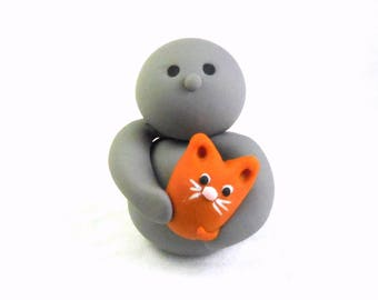 Cute Polymer Clay Person Figure Holding Orange Kitty Cat Sculpture