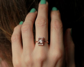 Morganite Engagement Ring, Rose Gold Morganite Ring, Rose Gold Engagement Ring, 18k Solid Gold
