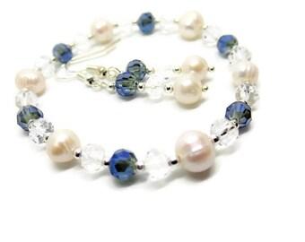 Bridal jewellery set - something blue - wedding jewellery - wedding earrings - bridal bracelet - bridal jewelry set - wedding jewelry