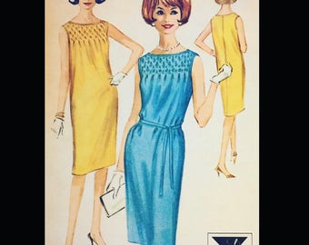 Vintage 60s Sleeveless Smocked Day Dress Sewing Pattern 6724 B32
