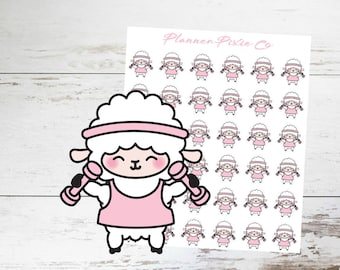 Lamb Planner Stickers // Weight Lifting // Workout // Exercise // 003