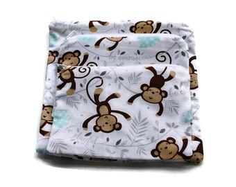 Reusable Sandwich Snack Bags set of 3 Zipper Monkeys White Brown