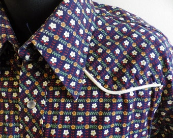 Vintage Lee Pearl Snap Western Shirt XL tail Navy floral
