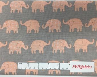 Elephants Fabric, Peach elephants on Gray Fabric, Fabric by the yard, Fat Quarter, Quilting Fabric, Apparel Fabric, 100% Cotton Fabric, B-3