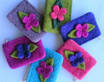 Summer Flower Coin Purse, Wool Coin Purse, Money Purse, Card Purse, Childs Purse, Felted Purse, Knitted Purse, Handmade, 6 Colours Available