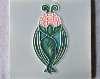 Art Nouveau Flower Tile from Belgium