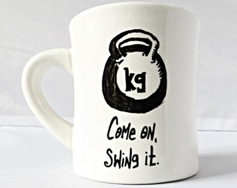 Kettlebell Mug, funny coffee mug, tea cup, diner mug, fitness gift, crossfit, gift for him, her, personalized, gym buddy, best friend, swing