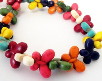 """Butterfly Beads - Gemstone Butterfly Pendant - Multicolored Beads - Howlite Beads - Nature Lover - 15"""" strand - DIY Summer Jewelry Beads"""