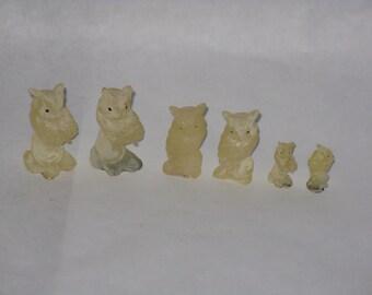 Set of 6 vintage plastic owl figurines small miniature