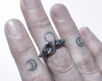 Ouroboros ring in sterling silver (twisted snake serpent)