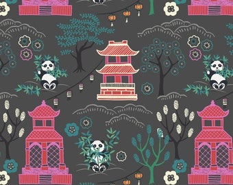 Fat Quarter Minshan Oriental Pandas on Dark Grey 100% Cotton Quilting Fabric