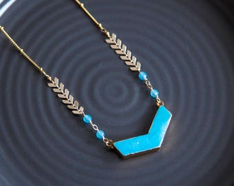 Long Necklace, Long  Boho Luxe Necklace, Long Turquoise Necklace, Turquoise Chevron Necklace, Layering Necklace, Long Chevron Necklace
