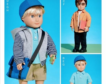 McCall's 18 inch Boy Doll Clothes Pattern, 18 inch Doll Hoody Pattern, McCall's Sewing Pattern 7734