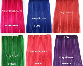"""12"""" Multi Color Clip-in 100% Human Hair Extensions 4pcs for highligts streaks USA"""