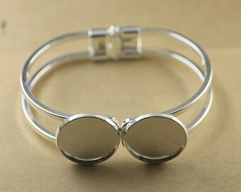 2PCS  Brass Silver Bracelet with two 20 mm Round Pad Cabochon Setting BLB06b