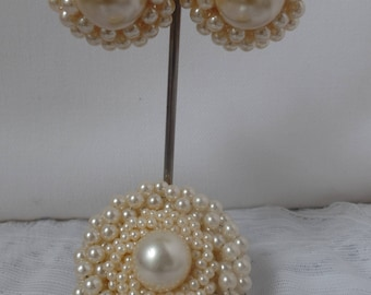 Vintage 1960 Faux Pearl Pin and Pierced Earrings Set