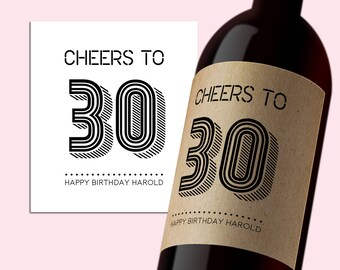 INSTANT DOWNLOAD PDF Template 3,5x4 Editable Wine Label Cheers to 30 Happy Birthday Printable Tag Printable Digital Wine Label Cheers to 30