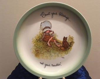"Holly Hobbie ""Count Your Blessings"" Collector's Edition Plate, 1972"