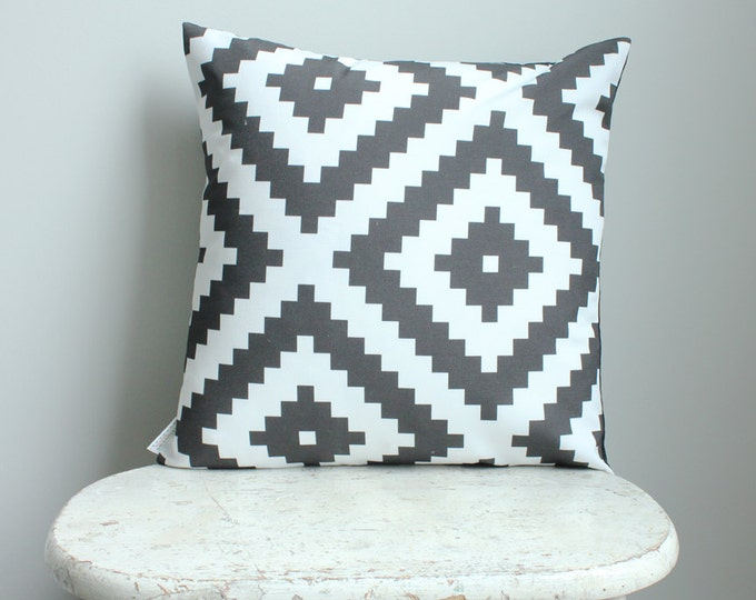 SALE Black aztec Pillow cover 18 inch 18x18 modern hipster accessory home decor nursery baby gift present zipper canvas ready to ship