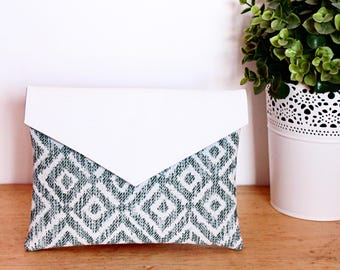 Pouch / case blue and white geometric with faux leather flap
