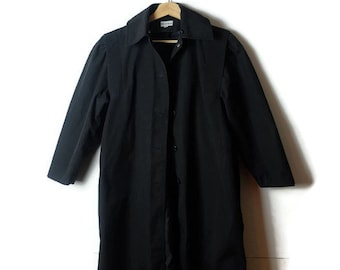 Vintage Plain Black Spring Coat from 80's/minimal/Minimal Coat