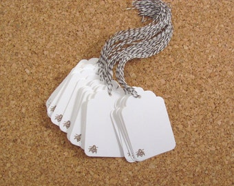 Mini Brown Bee Stamped White Gift Tags set of 24 with Brown and White Bakers Twine