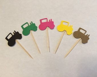 24 tractor toothpicks, farm theme baby shower, tractor birthday, tractor party, appetizer picks, food picks, tractor cupcake toppers